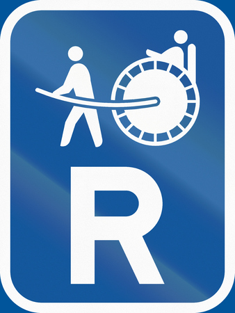 reservation: Road sign used in the African country of Botswana - Reservation for rickshaws.