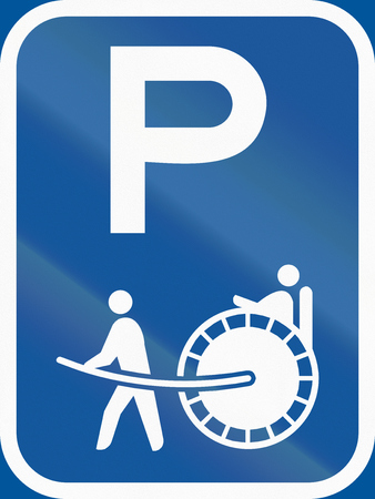 Road sign used in the African country of Botswana - Parking for rickshaws.