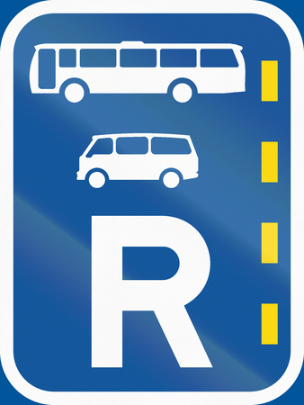r regulation: Road sign used in the African country of Botswana - Reserved lane for buses and mini-buses. Stock Photo