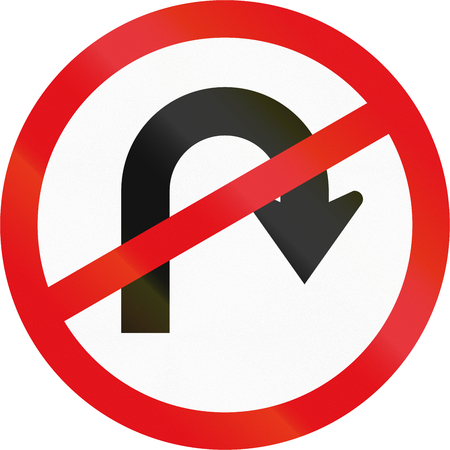 uturn: Road sign used in the African country of Botswana - U-turn prohibited.
