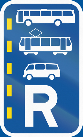r regulation: Road sign used in the African country of Botswana - Reserved lane for buses, trams and mini-buses. Stock Photo