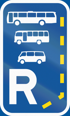 r regulation: Road sign used in the African country of Botswana - Start of a reserved lane for buses, midi-buses and mini-buses. Stock Photo