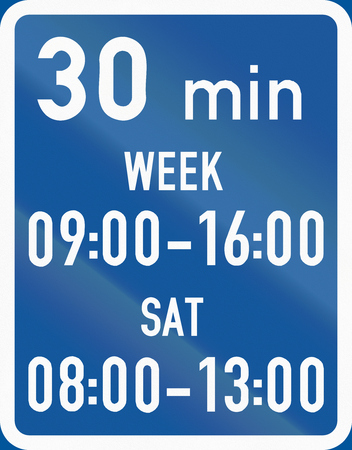 botswana: Road sign used in the African country of Botswana - Parking is permitted within the days and hours specified, with a 30 minute limit. Stock Photo