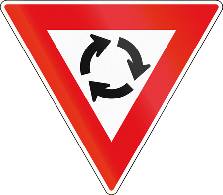 roundabout: Road sign used in the African country of Botswana - Give Way at roundabout.