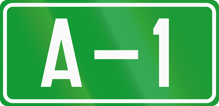 bosnia: Numbered motorway shield in Bosnia and Herzegovina. Stock Photo