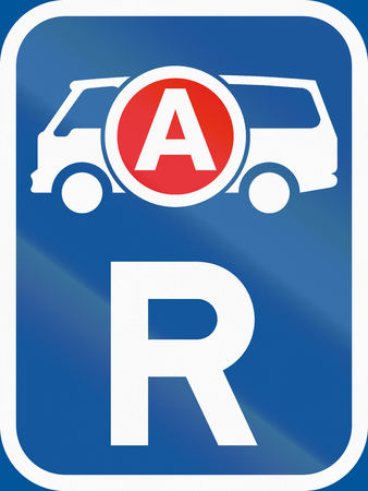 reservation: Road sign used in the African country of Botswana - Reservation for ambulances  emergency vehicles. Stock Photo