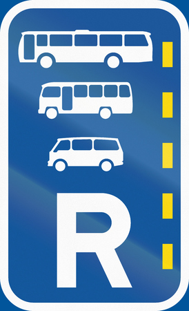 r transportation: Road sign used in the African country of Botswana - Reserved lane for buses, midi-buses and mini-buses.