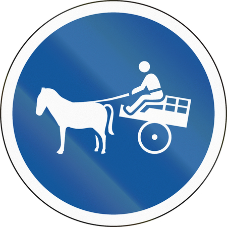 horse pull: Road sign used in the African country of Botswana - Animal-drawn vehicles only.