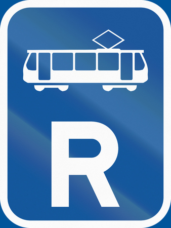 reservation: Road sign used in the African country of Botswana - Reservation for trams. Stock Photo