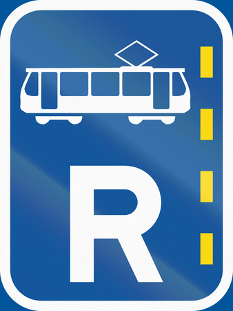 r image: Road sign used in the African country of Botswana - Reserved lane for trams.