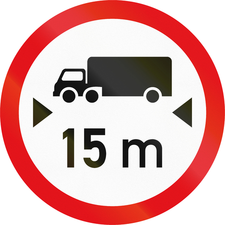exceeding: Road sign used in the African country of Botswana - Vehicles exceeding 15 metres in length prohibited.