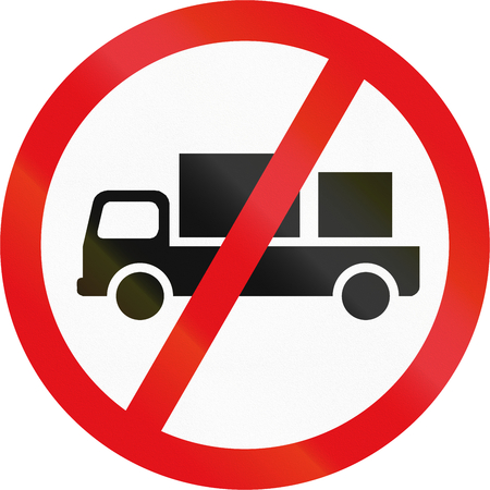 Road sign used in the African country of Botswana - Delivery vehicles prohibited. Stock Photo