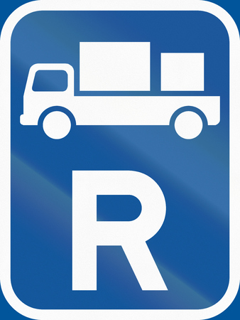 r image: Road sign used in the African country of Botswana - Reservation for delivery vehicles. Stock Photo