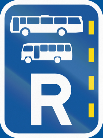 r image: Road sign used in the African country of Botswana - Reserved lane for buses and midi-buses.