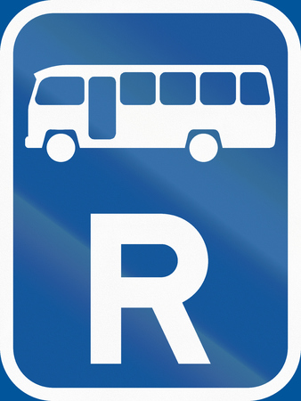 r transportation: Road sign used in the African country of Botswana - Reservation for midi-buses. Stock Photo