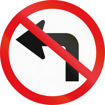 crossed out: Road sign used in the African country of Botswana - Left turn prohibited ahead. Stock Photo