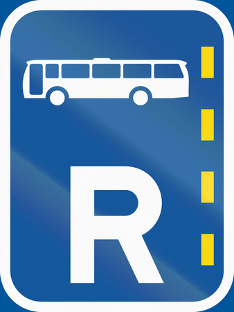 r regulation: Road sign used in the African country of Botswana - Reserved lane for buses.