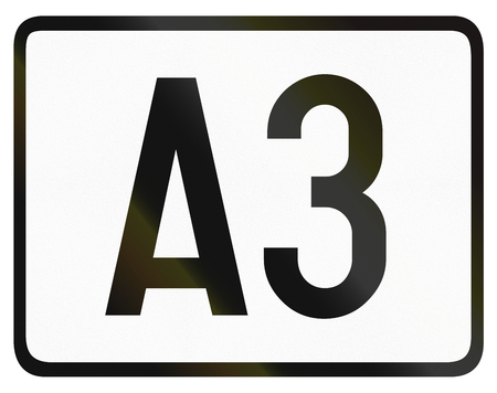 highway 3: Numbered highway shield which is used in Belgium. Stock Photo