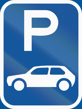 motorcars: Road sign used in the African country of Botswana - Parking for motorcars. Stock Photo
