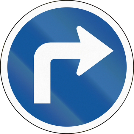 botswana: Road sign used in the African country of Botswana - Turn right ahead.