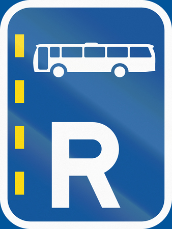 r transportation: Road sign used in the African country of Botswana - Reserved lane for buses.