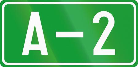 motorway: Numbered motorway shield in Bosnia and Herzegovina. Stock Photo