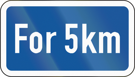 km: Road sign used in the African country of Botswana - The primary sign is effective for 5 kilometres. Stock Photo