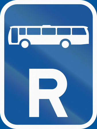 r transportation: Road sign used in the African country of Botswana - Reservation for buses.