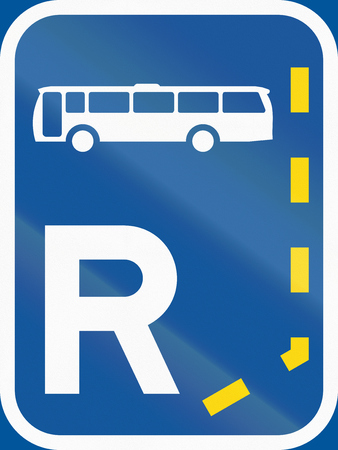 r transportation: Road sign used in the African country of Botswana - Start of a reserved lane for buses.