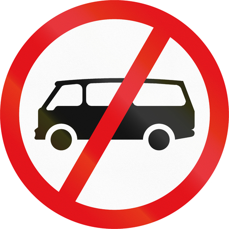crossed out: Road sign used in the African country of Botswana - Mini-buses prohibited.