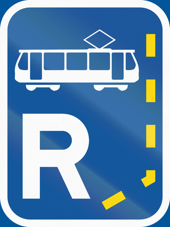 r transportation: Road sign used in the African country of Botswana - Start of a reserved lane for trams. Stock Photo
