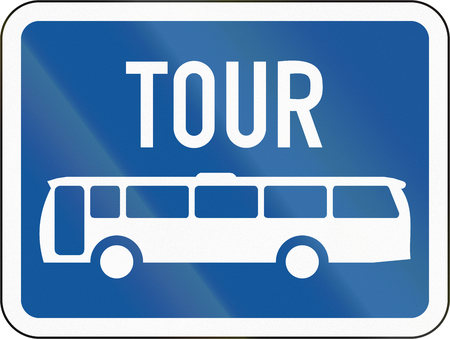 Road sign used in the African country of Botswana - The primary sign applies to tour buses. Stock Photo