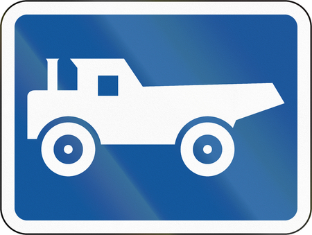 Road sign used in the African country of Botswana - The primary sign applies to construction vehicles.