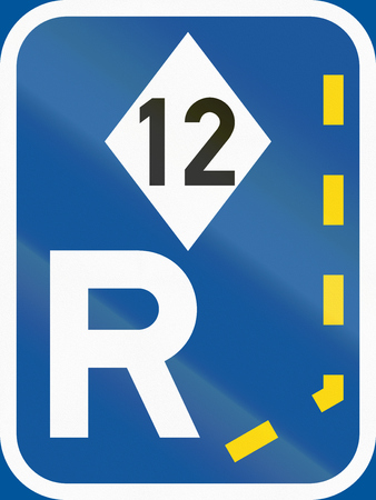 r regulation: Road sign used in the African country of Botswana - Start of a reserved lane for high-occupancy vehicles.