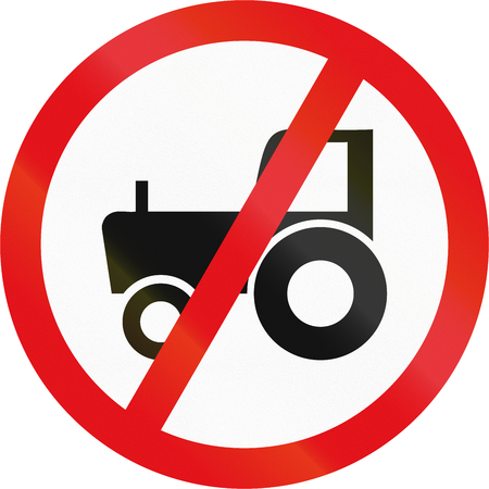 Road sign used in the African country of Botswana - Agricultural vehicles prohibited. Stock Photo