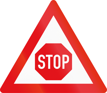 danger ahead: Road sign used in the African country of Botswana - Stop sign ahead.