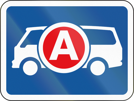 Road sign used in the African country of Botswana - The primary sign applies to ambulances  emergency vehicles.