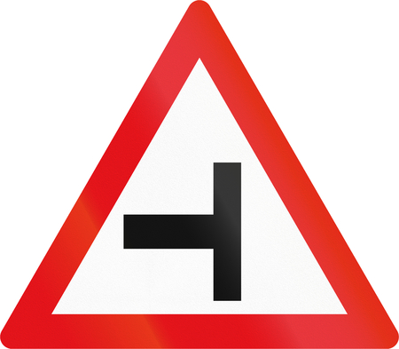 country side: Road sign used in the African country of Botswana - Side road junction from the left.