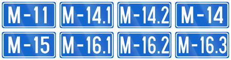 bosnian: Collection of numbered magistral road signs in Bosnia and Herzegovina.