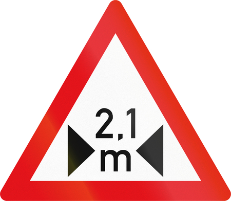 danger ahead: Road sign used in the African country of Botswana - Width restriction ahead.