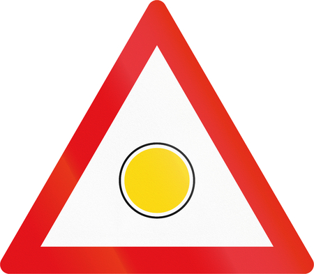 flashing light: Road sign used in the African country of Botswana - Emergency flashing light sign. Stock Photo