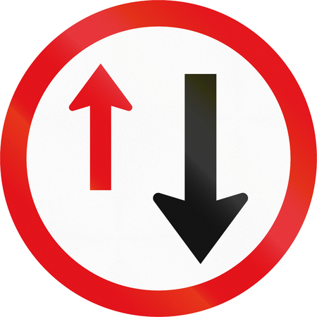 give the way: Road sign used in the African country of Botswana - Give Way to oncoming traffic. Stock Photo