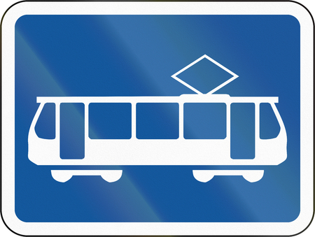 streetcar: Road sign used in the African country of Botswana - The primary sign applies to trams. Stock Photo