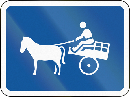 Road sign used in the African country of Botswana - The primary sign applies to animal-drawn vehicles.