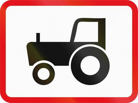 Road sign used in the African country of Botswana - The primary sign applies to agricultural vehicles.