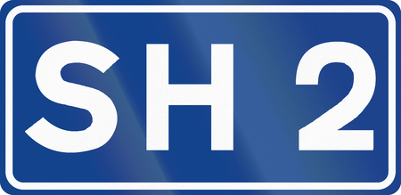 sh: Official highway shield of SH2 in Albania. Stock Photo