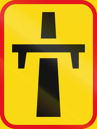 single lane road: Road sign used in the African country of Botswana - Singe-carriageway freeway begins. Stock Photo