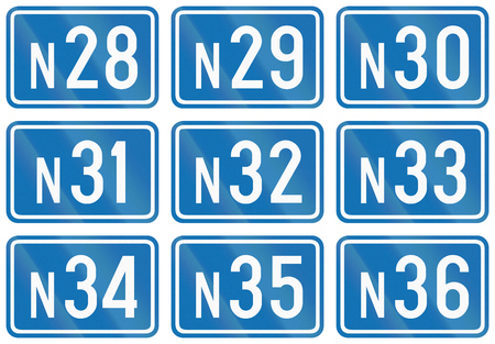 federal: Collection of federal road shields used in Belgium. Stock Photo