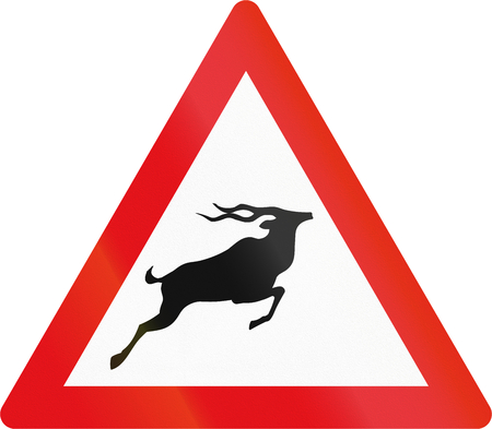 botswana: Road sign used in the African country of Botswana - Antelope. Stock Photo