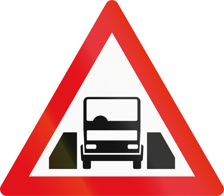 width: Road sign used in the African country of Botswana - Single vehicle width passage ahead.